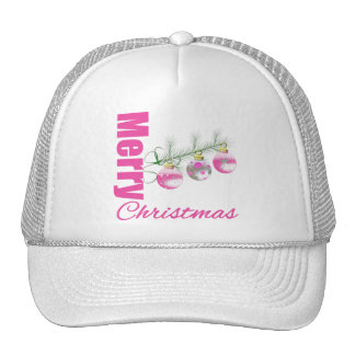 Merry Christmas Pink Whimsical Tree Ornaments Hats