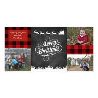 Merry Christmas Plaid Greeting Card Photo Card Template
