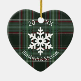 Merry Christmas Plaid Snowflake Ceramic Heart Decoration