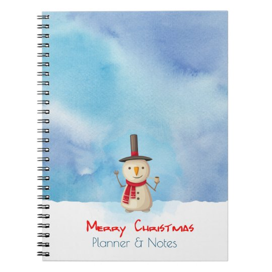 Merry Christmas Planner Snowman Waving And Smiling Note