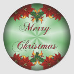 Merry Christmas Poinse Fade Round Stickers