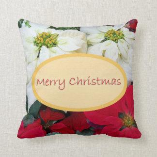Merry Christmas Poinsettia Cushion