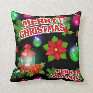 Merry Christmas Poinsettia Holiday Throw Pillow