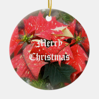 Merry Christmas Poinsettia Ornament Red White