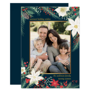 Merry Christmas Poinsettia & Pine Frame Photo Card