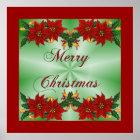 Merry Christmas Poinsettia Poster