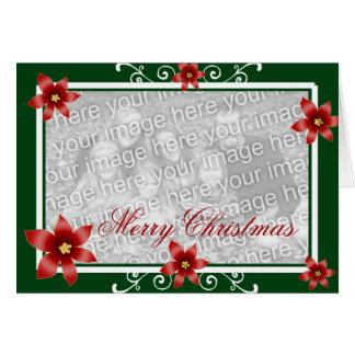 Merry Christmas Poinsettia Swirl Frame Card
