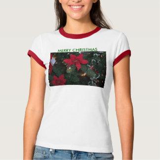 MERRY CHRISTMAS, Poinsettias&Stocking T-Shirt