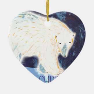 Merry Christmas Polar Bear Ceramic Heart Decoration