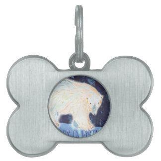 Merry Christmas Polar Bear Pet Name Tag