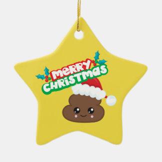 Merry Christmas Poop Emoji Star Ornament