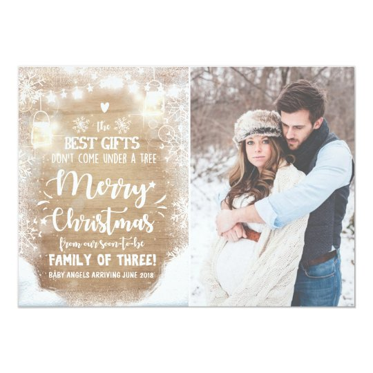Merry Christmas pregnancy announcement Rustic