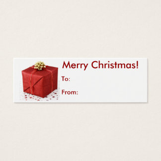 Merry Christmas Present Tag Mini Business Card