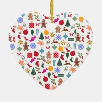 Merry Christmas Print Ceramic Heart Decoration