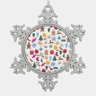 Merry Christmas Print Pewter Snowflake Decoration