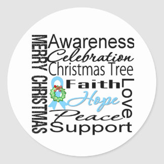 Merry Christmas Prostate Cancer Collage Ribbon Round Sticker
