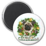 Merry Christmas Pug 6 Cm Round Magnet