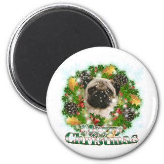 Merry Christmas Pug Magnet