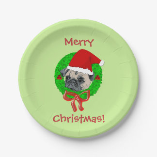 Merry Christmas Pug Paper Plate