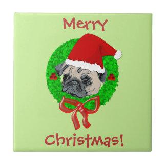 Merry Christmas Pug Tile