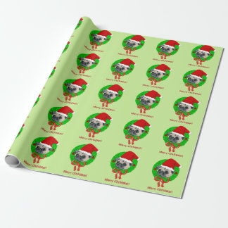 Merry Christmas Pug Wrapping Paper