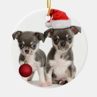 Merry Christmas Puppies Christmas Ornament