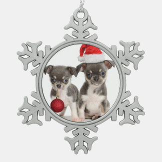 Merry Christmas Puppies Snowflake Pewter Christmas Ornament
