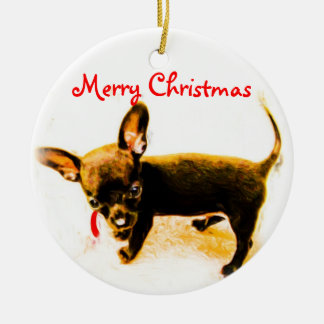 Merry Christmas Puppy Christmas Ornament