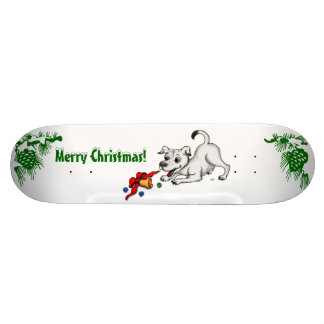 Merry Christmas! Puppy with Bell and Ball Custom Skate Board