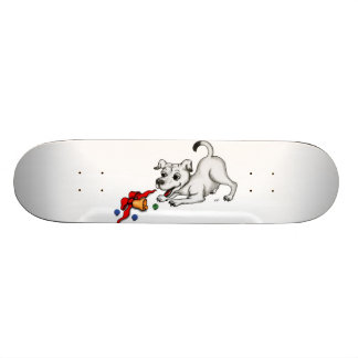 Merry Christmas Puppy with Bell and Ball Custom Skate Board