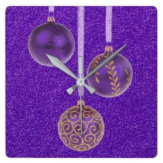 Merry Christmas Purple Glitter Baubles Elegant Square Wall Clock
