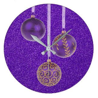 Merry Christmas Purple Glitter Baubles Elegant Wallclocks