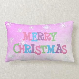Merry Christmas Purple Snowflakes  Pillow
