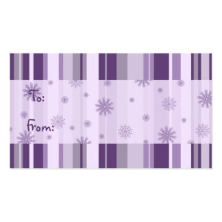 Merry Christmas Purple Stripes Gift Tags Pack Of Standard Business Cards
