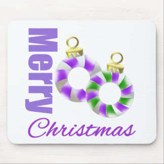 Merry Christmas Purple Theme Candy Cane Ornament Mouse Pad