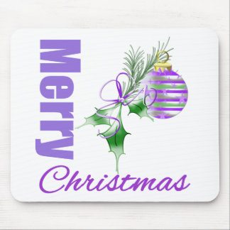 Merry Christmas Purple Theme Candy Ornament Holly Mouse Pad