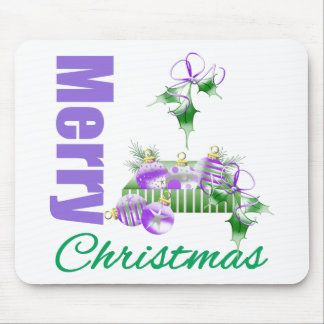Merry Christmas Purple Theme Ornament Box Holly Mouse Pad
