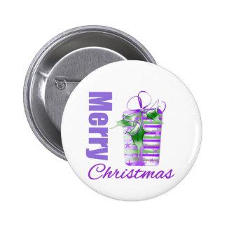 Merry Christmas Purple Theme Whimsical Gift Box v2 6 Cm Round Badge