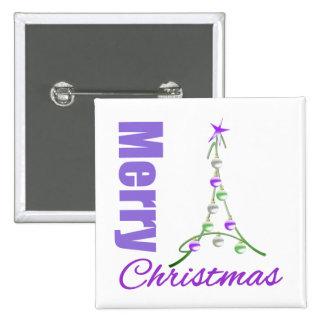 Merry Christmas Purple Theme Whimsical Tree 15 Cm Square Badge