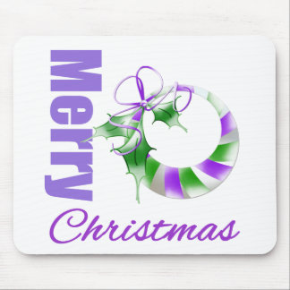 Merry Christmas Purple Theme Whimsical Wreath Mousepads