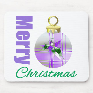 Merry Christmas Purple Themed Holly Ornament Mouse Pad