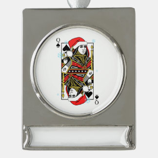 Merry Christmas Queen of Spades Silver Plated Banner Ornament