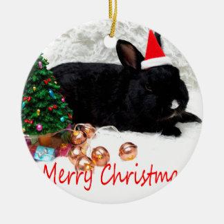 Merry Christmas Rabbit Round Ceramic Decoration