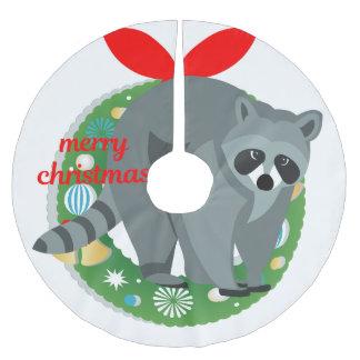 merry christmas raccoon tree skirt