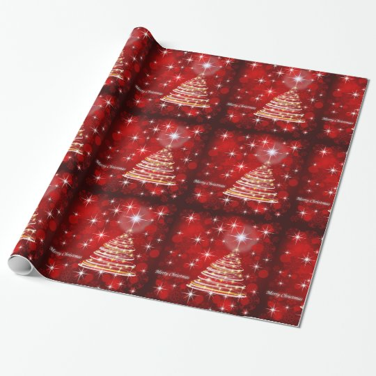 Merry Christmas Red and Gold Christmas Tree Wrapping