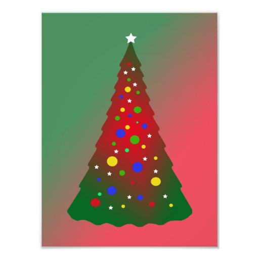 Merry Christmas: Red and Green Christmas Tree Photographic Print
