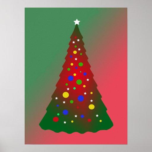 Merry Christmas: Red and Green Christmas Tree Print