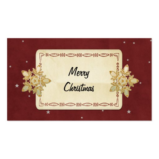 Merry Christmas Red and Silver Star Paper Custom Business Card Templates