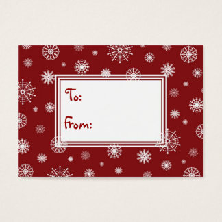 Merry Christmas Red and White Snowflakes Gift Tags