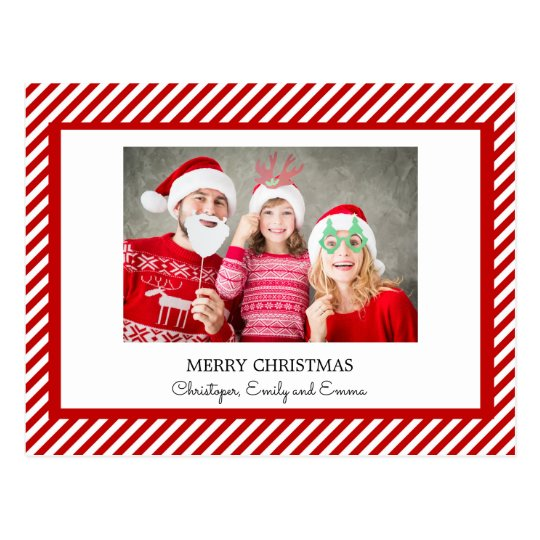 Merry Christmas Red and White Stripe Photo Card